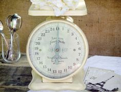 Buttercream Vintage Farmhouse Scale SOLD #vintage #scale #yellow #butter #buttercream #kitchen #farmhouse