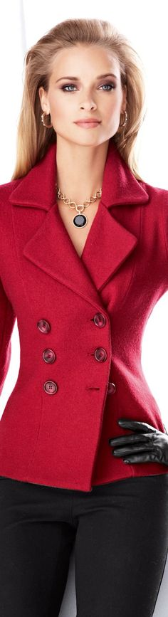 Madeleine Red Knit Wool Jacket
