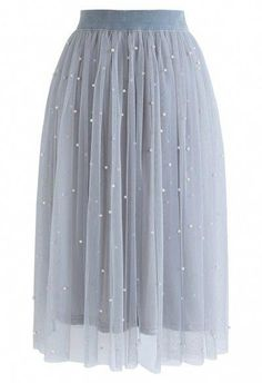 Scattered Pearls Gradient Mesh Tulle Skirt in Dusty Blue - Retro, Indie and Unique Fashion Blue Tulle Skirt, Mesh Skirt, Tulle Skirts, Dance Outfits, Skirt Outfits, Unique Fashion, Blue Fashion, Classy Outfits, Pretty Outfits