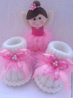 """Для новорожденных, ручной работы. комплект """" Маленькая балерина"""". Оксана. Ярмарка Мастеров. Пинетки детские, вязанный, фатин"""