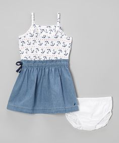 Look what I found on #zulily! White Anchor Dress - Infant, Toddler & Girls by Nautica #zulilyfinds