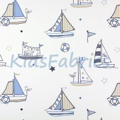 Regatta [Boats] Denim Blue and Beige colour embroidered boats on ivory cott - See more at: http://www.kidsfabrics.co.uk/regatta-boats-denim-farbic.html