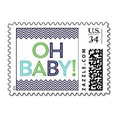 Bold and Preppy Modern Chevron Baby Shower Stamp