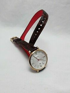 Fossil Rose Gold Tone Jacqueline Women's Croco Brown Leather Band&Date ES3613 | eBay Skagen, Fossil, Jewelry Collection, Brown Leather, Im Not Perfect, Quartz, Rose Gold, Band, Watch