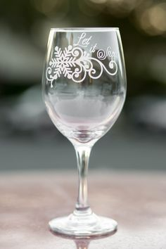 """Holiday Wine Glass Engraved with """"Let it Snow' with Optional Message - Choose Wine, Pint, Pilsner or Whiskey Glass - Christmas Wine Glass by EVerre on Etsy"""