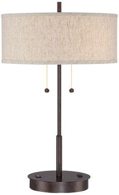 Nikola Bronze Metal Table Lamp with USB Port