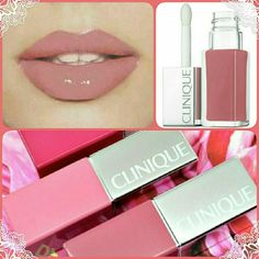 Clinique Pop Laquer! Beautiful vitamin loaded shine! Has a built in primer so one coat gives you the color & shine you want! Color is called **Sugar Pop** and is the pic on top right and on the lips! Gorgeous everyday color! New in box! Never Swatched. Clinique Makeup Lip Balm & Gloss