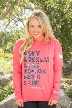 Jadelynn Brooke Where You Lead Long Sleeve Tee in Coral LS-GILMOREGIRLS-CORAL