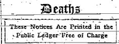 From The Public Ledger - Philadelphia; Wednesday morning, February 9th, 1916, Page 16.
