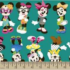 """Disney Minnie Passion For Fashion Cotton Fabric By The Yard, Multi, 43/44"""" Wide"""