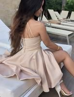 A-Line Spaghetti Straps Short Pearl Pink Satin Homecoming Cocktail Dress