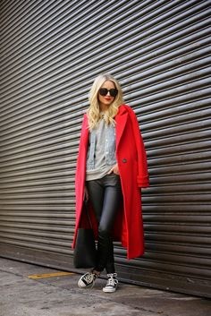 layers, red coat, sweatshirt, denim jacket, leather pants.