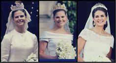 ifreakinglovetheroyals: Mother and Daughters-Weddings of Queen Silvia (1976), Crown Princess Victoria (2010), Princess Madeleine (2013)