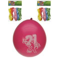 8 gekleurde verjaardagsballonnen voor een 21ste verjaardag