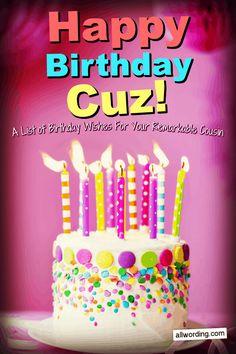 Happy Birthday Wishes Cousin, Cousin Birthday Quotes, Short Birthday Wishes, Birthday Blessings, Happy Birthday Fun, Happy Birthday Messages, Happy Birthday Images, Happy Birthday Greetings, Birthday Memes