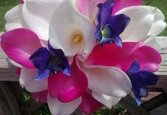 Real Touch Hot Pink & White Calla Lily Royal Blue Orchid Wedding Bouquet, Bride White Hot Pink Bouquet Calla Lily Pink Wedding Flowers