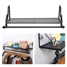 OGORI Heavy Duty Metal Clothes Rail Wall Mounted Garment Hanging Rack & Shelf: Amazon.co.uk: Kitchen & Home