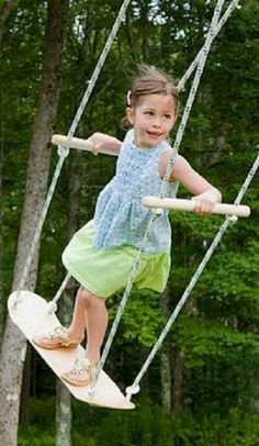 The coolest standing swing ever. I gotta do this with one of the many old skateboards my son will never use again.