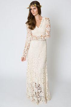 047c0952cb bohemian wedding dress. crochet lace long sleeve boho wedding dress gown.  simple elegant dress. WHITE or IVORY. vintage inspired