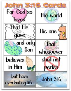 Having children memorize the Bible is a wonderful activity to do during your Sunday School class. By having them memorize the Bible, it will always be with them wherever they go. John 3:16 is a ver…