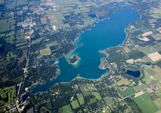 Aerial view of Gull Lake Battle Creek, Gull, Lake Michigan, Summer Of Love, Aerial View, National Geographic, City Photo, Sunset, History