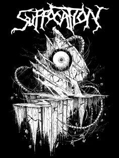"New SUFFOCATION (USA) T-Shirt illustration in support of their latest full-length album, ""Pinnacle of Bedlam.""   Artist--RIDDICKART.com"
