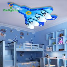 Creative Cartoon Kids Room Children Cool Toys Lamp LED Lamps Boy Bedroom Ceiling Lights Protect Eyes Aircraft Lights Lights