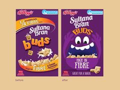 Kellogg's Sultana Bran Buds on Behance Packaging Snack, Biscuits Packaging, Candy Packaging, Food Packaging Design, Branding Design, Bran Buds, Chocolate Box Packaging, Cafe Shop Design, Cereal