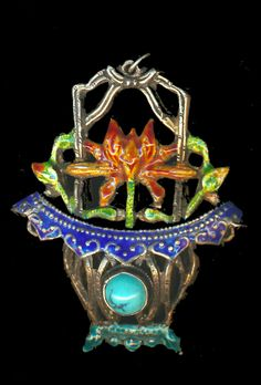 Image Copyright RC Larner ~ Early 20th C. Chinese Silver and Enamel Pendant with Turquoise  ~ R C Larner Buttons at eBay & Etsy        http://stores.ebay.com/RC-LARNER-BUTTONS and https://www.etsy.com/shop/rclarner