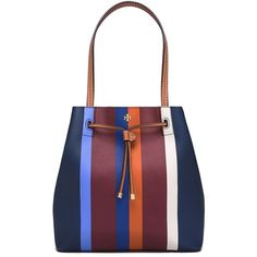 Tory Burch Kerrington Stripe Drawstring Tote ($275) ❤ liked on Polyvore featuring bags, handbags, tote bags, multi center stripe, handbags totes, tote purses, tory burch purse, color block tote and drawstring tote