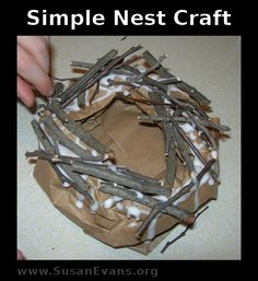 Unit Study Are You My Mother? (Unit Study) including this simple nest made from a paper lunch bag with sticks and Elmer's Glue.From From may refer to: Bird Nest Craft, Bird Crafts, Preschool Crafts, Crafts For Kids, Fall Preschool, Nester, Make A Bird Feeder, Are You My Mother, Spring Birds