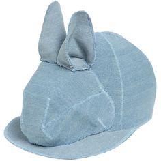 FRANCESCO BALLESTRAZZI Bunny Cotton Denim Baseball Hat (18.540 RUB) ❤ liked on Polyvore featuring accessories, hats, blue, baseball caps hats, blue baseball cap, blue baseball hat, baseball cap and bunny hat