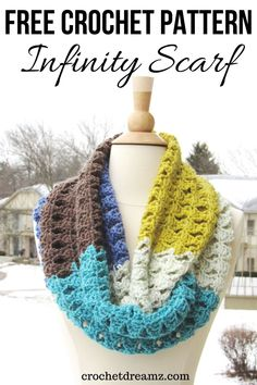 Caron Cakes Infinity Scarf Crochet Pattern, Kaleidoscope Infinity Scarf This multi color infinity scarf free crochet pattern is an elegant piece that will spice up any wom Caron Cake Crochet Patterns, Caron Cakes Crochet, Free Crochet, Knit Crochet, Crochet Hats, Crochet Granny, Free Knitting, Knitting Patterns, Crochet Edgings