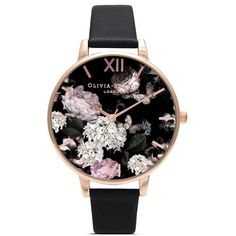 Olivia Burton 'Winter Garden' floral print Big Dial watch found on Polyvore featuring jewelry, watches, accessories, black, heart jewelry, heart shaped watches, butterfly watches, olivia burton watches and oversized watches