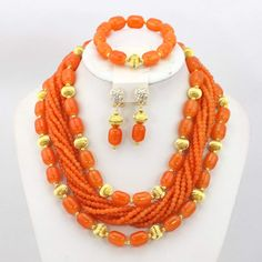Africanbeads 3 Rows African Artificial Coral Necklace Wedding Gift African Beads Jewelry Set -- Details can be found by clicking on the image. (This is an affiliate link) Coral Bracelet, Coral Jewelry, Beaded Jewelry, Beaded Necklaces, Indian Wedding Jewelry, Wedding Jewelry Sets, African Beads, African Jewelry, Nigerian Beads