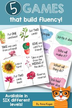 """These simple fluency games are designed to be played EVERY DAY as part of a differentiated reading program. The games include:  *Relay Race: students race the clock to read the phrases.  *Kaboom!: students collect phrases until they get a KABOOM! card and lose all their cards.  *Lucky Break: students read phrases from a deck of cards and follow the instructions on the """"lucky break"""" cards.  *Sorting Race: two teams race to sort their phrases into piles.  *Minute Sprint: students race the…"""