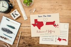 Save The Date-State Themed Post Card-Long Distance Love-Two States United-Upgrade to Hand Lettered Save The Date CardsSave the date Magnets FeatheredHeartPrints