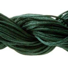 Lot 5m cordon nylon spécial shamballa vert emeraude 1mm