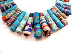 Turquoise Frida Kahlo fiber necklace ethnic Frida kahlo