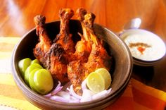 Tandoori chicken is a popular North Indian dish consisting of roasted chicken prepared with yogurt and spices. The name comes from the type of cylindrical clay oven, a tandoor, in which the dish is traditionally prepared. For Restaurant Franchise enquiries visit www.tandooriwala.com or call our toll free number - 1800 3010 4995.