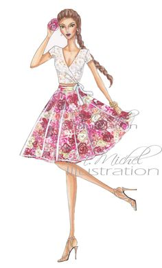 Fashion Illustration Print, Pretty Petal Chic by MMichelIllustration on Etsy