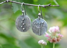 Silver Earrings Asymmetric Floral Minimalist Metalsmith Metal Art Sterling Silver Earrings Nature Lover Jewelry - blackmountainjewelry of nh - Pineagle I Love Jewelry, Jewelry Design, Jewelry Making, Silver Bracelets, Sterling Silver Earrings, Silver Rings, Silver Jewellery, Diamond Jewelry, Jewellery Sale