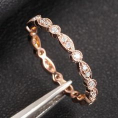 Art Deco Antique Style .32ct Diamond Milgrain 14K Rose Gold Wedding Band Ring Aniversary Ring