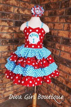 Dr Suess Thing 1 Thing 2 Birthday Outfit by divagirlboutique, $99.50