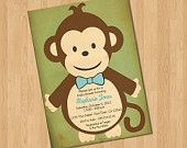 Jungle Baby Boy Monkey Invitation