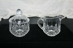 Creamer & Sugar Bowl with Lid set - Clear Glass Diamond Pattern Antique Glass Bottles, Diamond Pattern, Sugar Bowl, Clear Glass, Retro Vintage, Antiques, Ebay, Antiquities, Antique
