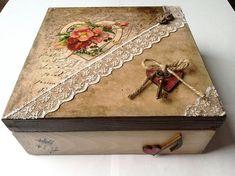 Decoupage box heart box vintage box wooden box by WarakusiArt Decoupage Vintage, Decoupage Box, Wooden Jewelry Boxes, Wooden Boxes, Handmade Jewelry Box, Square Wooden Box, Altered Cigar Boxes, Shabby Chic Crafts, Pretty Box