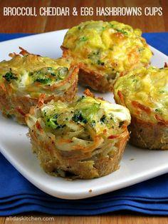 Broccoli Cheddar & Egg Hashbrowns Cups - super mit Schinken oder mit Gemüse als Beilage zu Kurzgebratenem oder Fisch