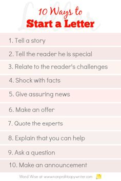 10 ways to start a letter with Word Wise at Nonprofit Copywriter Letter Writing Format, Writing A Cover Letter, Writing Letters, Easy Writing, Writing Ideas, Writing Resources, Writing Skills, Fundraising Letter, Newsletter Ideas