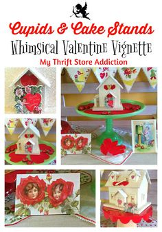 How to create whimsical Valentine decor featuring thrift store finds, cupids and cake stands